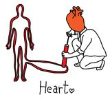 Metaphor main function of human heart is to propel blood through. Out the body vector illustration sketch hand drawn with black lines, isolated on white Royalty Free Stock Photos