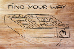 Metaphor maze design: find your way Royalty Free Stock Photography