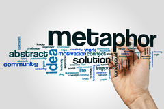 Metaphor word cloud. Concept on grey background Royalty Free Stock Photography