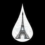 Metaphoric illustration of France. Crying tear, mourning, Paris on the background, with an Eiffel tower vector Royalty Free Stock Photos