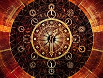 Metaphorical Chronology. Circles of Time series. Design composed of clock symbols and fractal elements as a metaphor on the subject of science, education and royalty free illustration