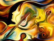 Metaphorical Music. Inner Melody series. Interplay of colorful human and musical shapes on the subject of spirituality of music and performing arts Royalty Free Stock Images