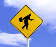 Metaphorical Sign. A photo of a sign with a business man waving Royalty Free Stock Photos