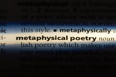 Metaphysical poetry. Word in a dictionary.  concept stock images
