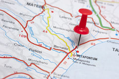 Metaponto Italy On A Map. Closeup of Metaponto Italy On A Map Stock Photo