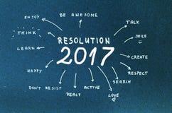Metas de la resolución 2017 del Año Nuevo escritas en la cartulina azul Foto de archivo