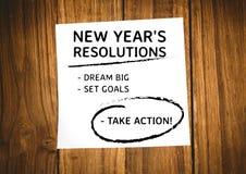 Metas de la resolución del Año Nuevo escritas en notas pegajosas Imágenes de archivo libres de regalías