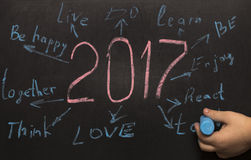 Metas de la resolución del Año Nuevo escritas en una pizarra Fotografía de archivo