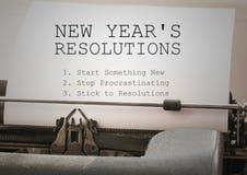 Metas de la resolución del Año Nuevo mecanografiadas en la máquina de escribir Imagen de archivo libre de regalías