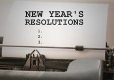 Metas de la resolución del Año Nuevo mecanografiadas en la máquina de escribir Foto de archivo