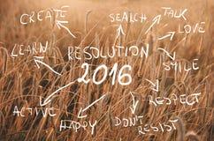 Metas de la resolución 2016 del Año Nuevo escritas en el campo del trigo listo para ser cosechado Campo de trigo de la puesta del Imagenes de archivo