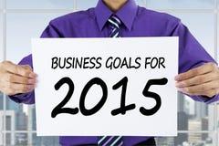 Metas de negocio de demostración del empresario para 2015 Fotos de archivo libres de regalías