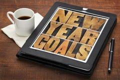 Metas del Año Nuevo en la tableta digital Foto de archivo