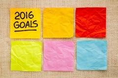 2016 metas del Año Nuevo en notas pegajosas Fotografía de archivo libre de regalías