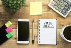 Metas del concepto 2018 del Año Nuevo Fotografía de archivo libre de regalías