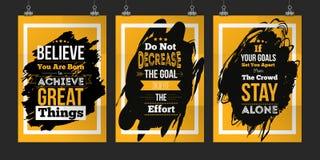 Metas determinadas del abot de la cita del negocio de la motivación Concepto de diseño del cartel para la pared en mancha oscura stock de ilustración