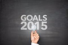 Metas 2015 en la pizarra Imágenes de archivo libres de regalías