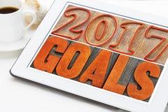 2017 metas en la tableta digital Foto de archivo libre de regalías