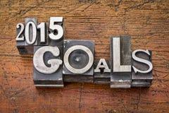 2015 metas en tipo del metal Imágenes de archivo libres de regalías