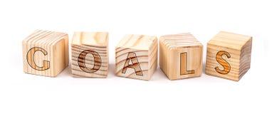 Metas escritas en bloques de madera Fotos de archivo libres de regalías