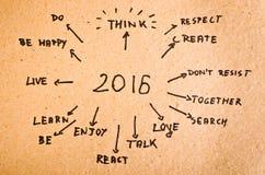 2016 metas escritas en la cartulina anaranjada Imágenes de archivo libres de regalías