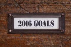 2016 metas - etiqueta del gabinete de fichero Imagenes de archivo