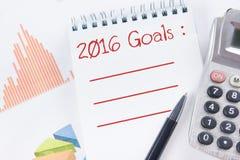2016 metas - mercado de acción de la contabilidad financiera Fotografía de archivo libre de regalías