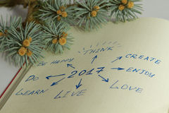 Metas para 2017 escrito en el organizador y la rama del árbol de pino Fotos de archivo libres de regalías