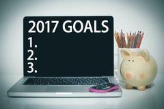 Metas para la lista del Año Nuevo 2017 Imagenes de archivo
