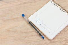 Metas para 2016 - lista de control en la libreta con la pluma Imagen de archivo
