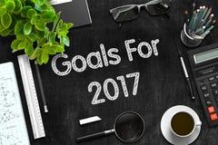 Metas para 2017 - texto en la pizarra negra representación 3d Foto de archivo libre de regalías
