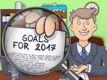 Metas para 2017 a través de la lente Diseño del garabato Imagen de archivo libre de regalías
