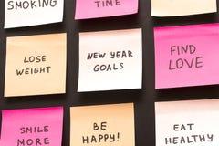 Metas populares o resoluciones del Año Nuevo en una pizarra imagen de archivo
