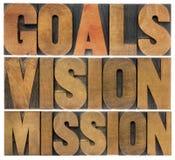 Metas, visión y misión Foto de archivo libre de regalías