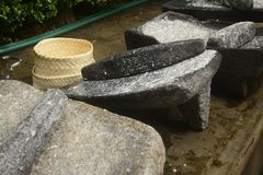 Metate, metlatl or mealing stone for corn in Mexico Stock Photography
