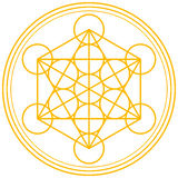 Metatron Cube Gold. Metatrons Cube and Merkaba derived from the Flower of Life, an ancient symbol. Vector illustration on white background Royalty Free Stock Photos