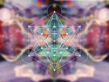 Metatron cube sacred geometry. On colorful blury background stock photo