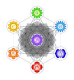 Metatron`s Cube And Chakras. Illustration of a metatron`s cube and chakras Royalty Free Stock Photography