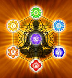Metatron`s Cube And Chakras Stock Photo