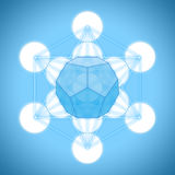 Metatron`s cube with platonic solids - dodecahedron. On blue background Royalty Free Stock Photos