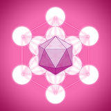 Metatron`s cube with platonic solids - icosahedron. On pink background Royalty Free Stock Photography