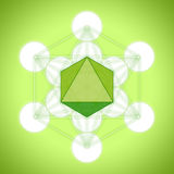 Metatron`s cube with platonic solids - octahedron. On green background Royalty Free Stock Images