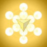 Metatron`s cube with platonic solids - tetrahedron Royalty Free Stock Photography