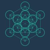 Metatron sześcian Kwiat życie Wektorowy Geometryczny symbol odizolowywa royalty ilustracja