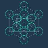 Metatrons Cube. Flower of life. Sacred Geometric. Metatrons Cube. Flower of life. Vector Geometric Symbol isolated. Sacred Geometric Figure named Metatrons Cube Stock Image