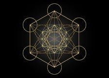 Metatrons Cube, Flower Of Life. Golden Sacred Geometry, Graphic Element Vector Isolated Illustration. Mystic Icon Platonic Solids Royalty Free Stock Image