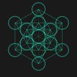 Metatrons kub Blomma av livstid Sakralt geometriskt stock illustrationer