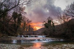 Metauro waterfall at sunset Stock Photos