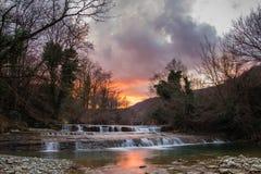 Metauro waterfall at sunset Stock Photos