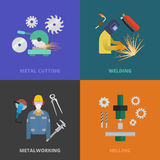 Metaworking concept template. Vector metalworking icons, concept. Metal cutting, welding, lathe work Royalty Free Stock Photography